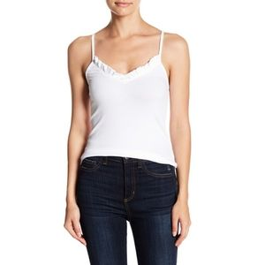 Know One Cares ribbed ruffle tank white sz L NWT
